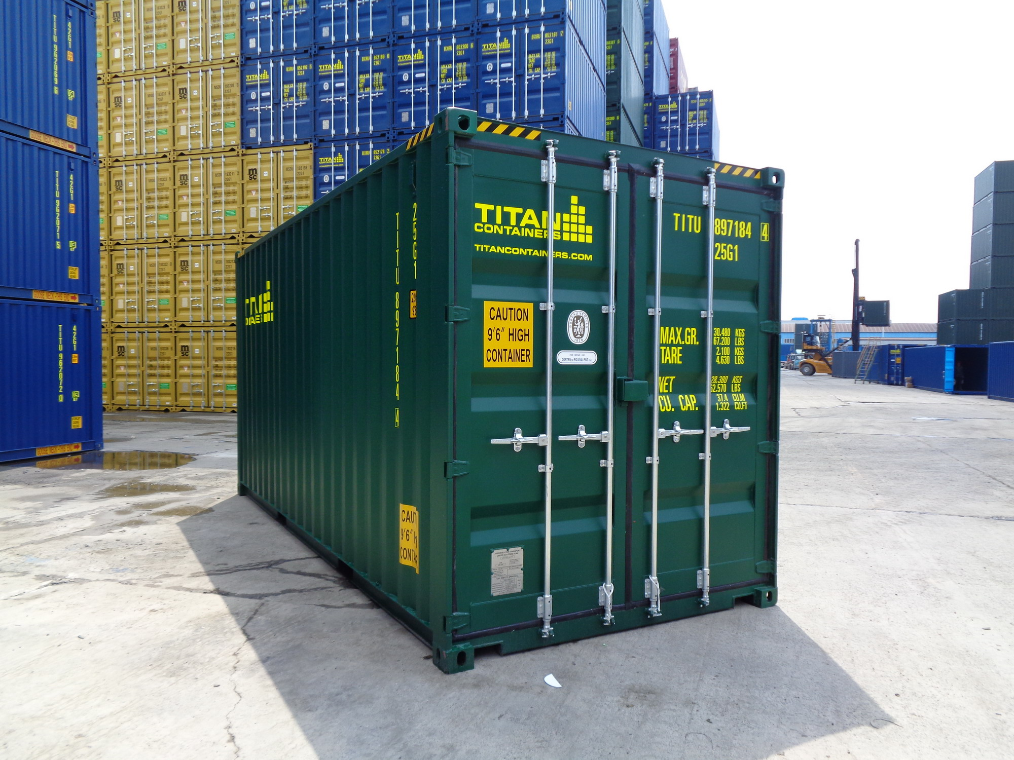New green 20' high cube storage and shipping container